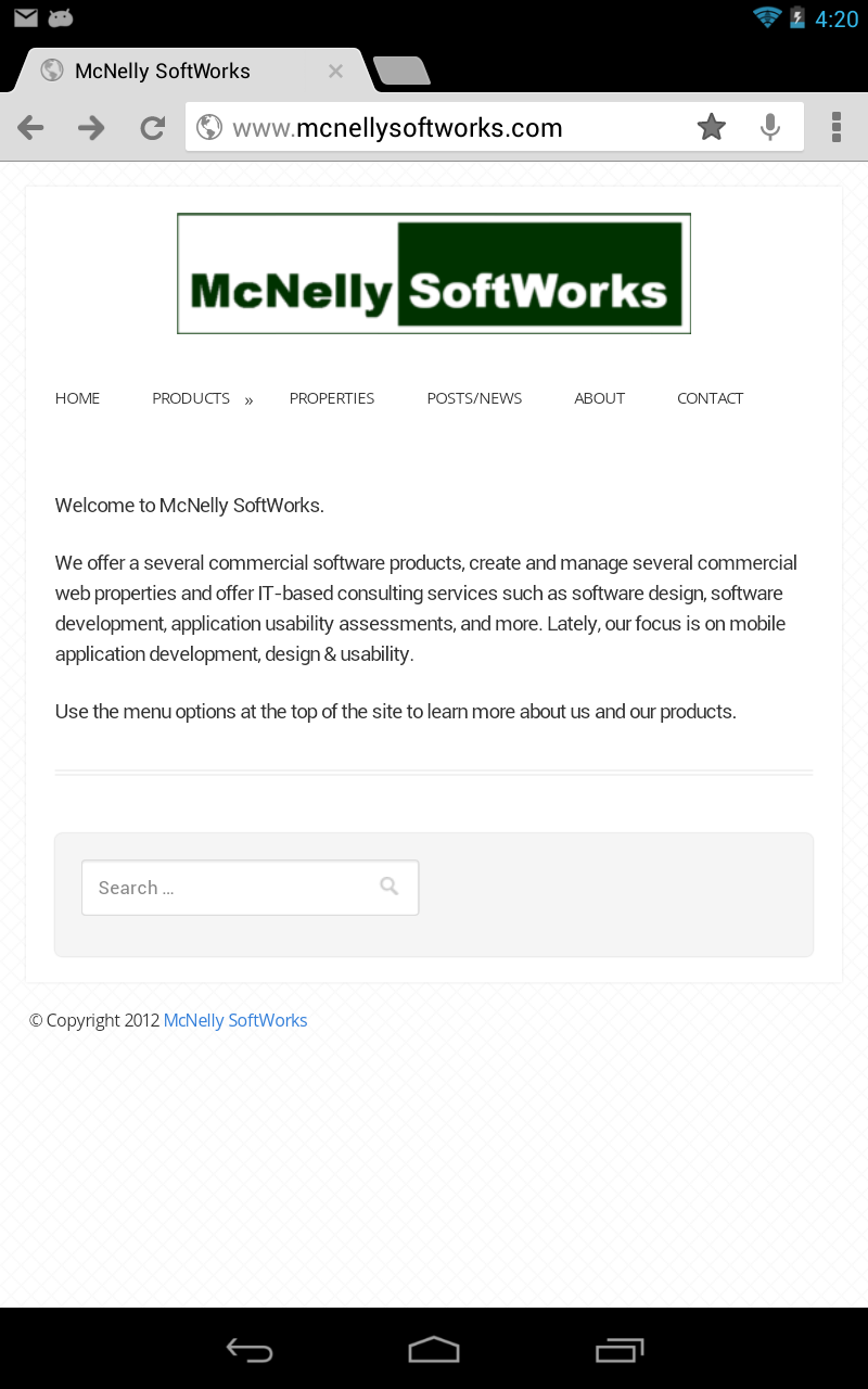 McNelly SoftWorks Products Menu on an Android Tablet