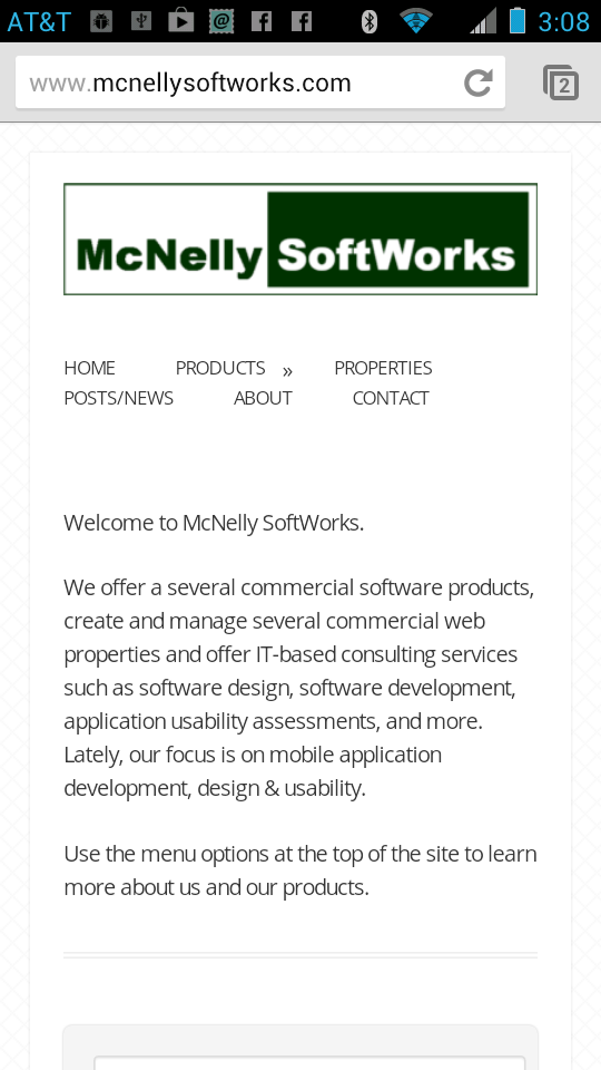 McNelly SoftWorks Products Menu on an Android Device