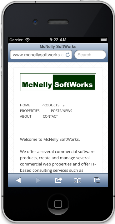 McNelly SoftWorks Products Menu on an iOS Device