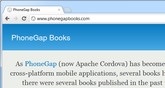 Screen capture from the PhoneGap Books web site.