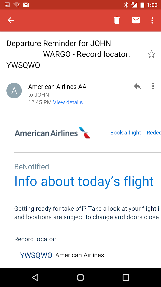 American Airlines Flight Notification